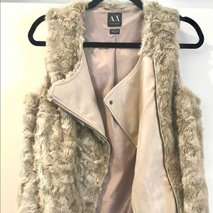 Armani Exchange Faux Fur Beige Women vest